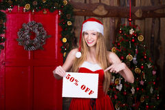 Sale, christmas, holidays and people concept - Royalty Free Stock Photography
