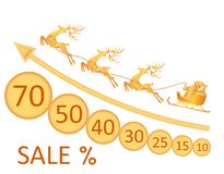 Sale. Christmas, New Year. Image of Santa Claus, deer, coins, discounts. illustration Stock Photo