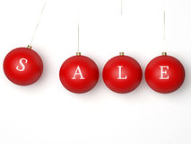 Sale Christmas Red Balls. Isolated On White Stock Photos