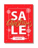 Sale Christmas Shop Now on Vector Illustration. Sale Christmas, shop now for limited time only, banner representing frame and headline, snowflakes and circles Stock Photos