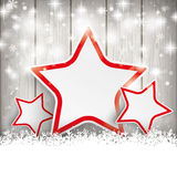 Sale Christmas Stars Snow Wooden Background Royalty Free Stock Photo