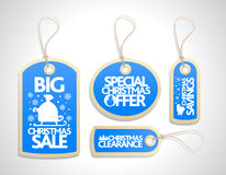 Sale Christmas Tags Set, blue Royalty Free Stock Images