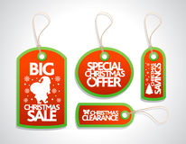 Sale Christmas Tags Set ,red Royalty Free Stock Photo