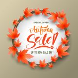 Sale circle banner with maples Royalty Free Stock Photography