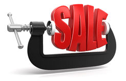 Sale in clamp (clipping path included) Royalty Free Stock Images