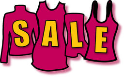 Sale with clothes. Illustration for the winter or summer sale Stock Illustration