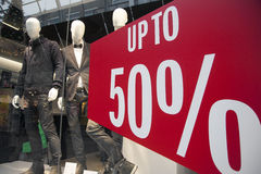 Sale in clothes store Royalty Free Stock Images