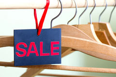 Sale of clothing concept with empty hangers Royalty Free Stock Photo