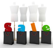 Sale for a clothing. 3D illustrations on a white Royalty Free Stock Photos