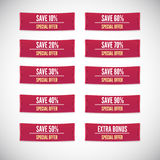 Sale clothing labels set of discounts Stock Photo