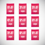 Sale clothing labels set of discounts Stock Images