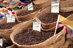 Sale of coffee beans of different varieties of killograms on the market in the city of Akko in Israel. Sale of coffee grains of different varieties on the market Stock Photography