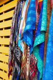 Sale of colored fabrics - Fort-de-France - Martinique. Sale of colored fabrics - Martinique - Tropical island Royalty Free Stock Photography