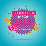 Sale colorful banner discount design. On a blue background Stock Image