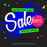 SALE colorful banners or background design. Template vector graphic Royalty Free Stock Photo