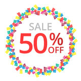 50% sale Colorful celebration background. Celebration bubble in colorful confetti. Vector Illustration Stock Photos