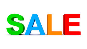 SALE - colorful 3d letters isolated on white. Front view Stock Photo