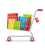 Sale Colorful Shopping Cart with Bags  on White Royalty Free Stock Image