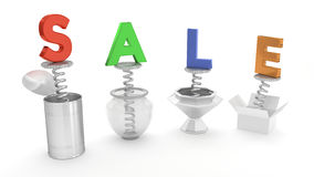 SALE Colorful Wording Pop Up Out of Containers Stock Image