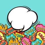 Sale comic speech bubble background in cartoon Stock Photo
