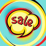 Sale comic speech bubble background in cartoon Royalty Free Stock Photography