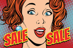 Sale comic text pop art woman Stock Photo