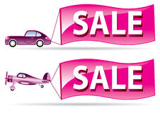 Sale coming by car and airplan Stock Photos