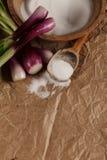 Sale con le cipolle su carta sgualcita Fotografie Stock Libere da Diritti