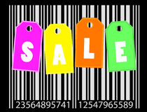 Sale concept. Sale labels on the bar code background,  -  illustration Royalty Free Stock Image