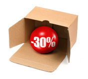 Sale concept - 30 percent. Sale concept - open cardboard box and 3D sale ball, photo does not infringe any copyright Stock Photography