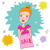 Sale concept. Bright sale concept - Girl in a shop Stock Photography