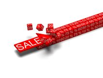 Sale concept arrow breaking cubes. 3d rendering Royalty Free Stock Photos