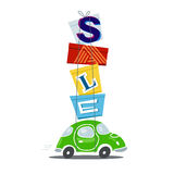 Sale concept - car full of packages after shopping Royalty Free Stock Photos