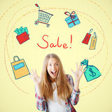Sale concept. Cheerful young woman on yellow background with shopping related drawings. Sale concept Stock Images