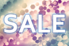 Sale concept with colored hexagonal background designs Royalty Free Stock Photo