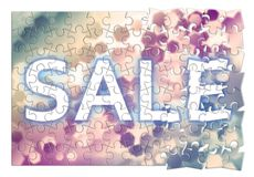 Sale concept with colored hexagonal background designs in puzzle Royalty Free Stock Images