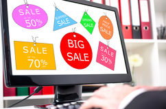 Sale concept on a computer screen Royalty Free Stock Photography