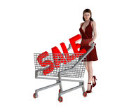Sale concept (consumerism). Woman with sign Sale in shopping basket royalty free illustration