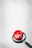 Sale concept with 3D ball and magnifying glass. On abstract dirty background Stock Photo