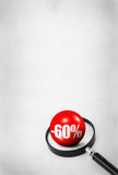 Sale concept with 3D ball. And magnifying glass on abstract dirty background Royalty Free Stock Image