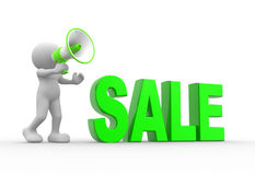 Sale concept. 3d people - man, person and a megaphone. Sale concept Royalty Free Stock Photo