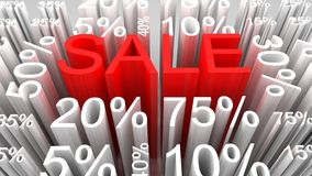 Sale concept, 3D red text with percents Stock Photo