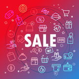 Sale concept. Different thin line icons Stock Image