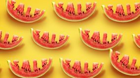 Sale concept. Fresh slices of watermelon on yellow background. Word SALE  carved in every piece stock illustration