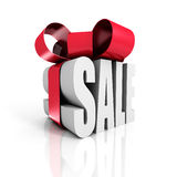 Sale Concept With Gift Box And Ribbon Stock Images