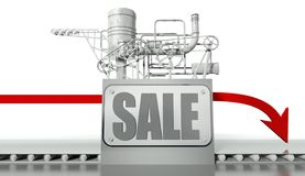 Sale concept with graph and machine Stock Photos