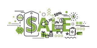 Sale concept in greenery color, vector illustration Royalty Free Stock Image