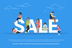 Sale concept illustration of young people using mobile devices such as smartphone and tablet pc to buy clothes online Stock Photography