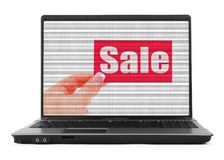 Sale concept on notebook screen Royalty Free Stock Photo