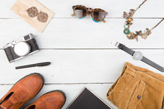 Sale concept - set of cool woman stuff and copy space Royalty Free Stock Photo